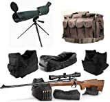 Ultimate Arms Gear 25-75x75 Green Rubber Armored Sniper Spotter Hunting Spotting Scope + 9'' Tripod + Sunshade + Lens Kit + 3 Piece Shooting Support Bag + Range Bag with Magazine Ammo Pouches