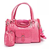 BETOP HOUSE Pink Fashion Dog Carrier PU Leather Dog Handbag Dog Purse Cat Tote Bag Pet Cat Dog Hiking Bag, Small 13.4''x8.7''x7.9''