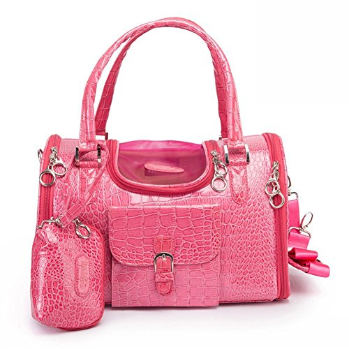 "BETOP HOUSE Pink Fashion Dog Carrier PU Leather Dog Handbag Dog Purse Cat Tote Bag Pet Cat Dog Hiking Bag, Small 13.4""x8.7""x7.9"""