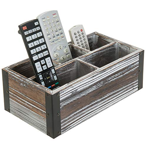 MyGift Rustic Torched Wood 5-Compartment Remote Control Holder, Media Storage Organizer Caddy with Black Metal Corner Wraps