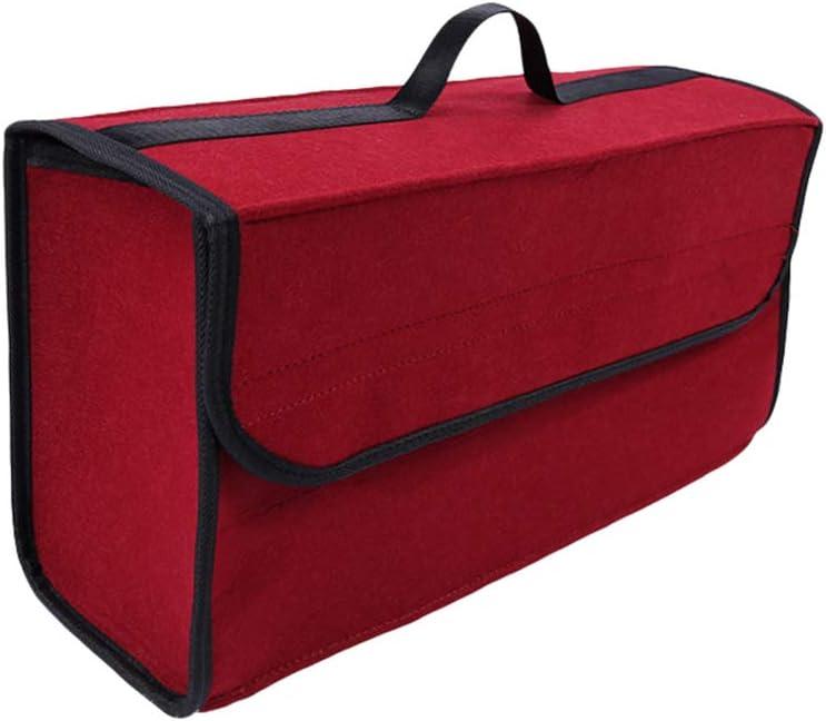 Lvguang Kofferraumtasche Auto Tasche Toolbag Mit Klettband Universal Faltbare Auto Organizer Aufbewahrungstasche Wein Rot 50 17 25cm Auto