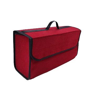 Lvguang Bolsa Organizadora para Coche, Organizador Maletero Coche Multifuncional Caja de Almacenamiento Furgoneta (Vino Rojo, 50 * 17 * 25cm)