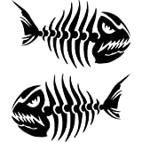 ProSticker 1504 (Two, a Right and a Left Facing) 10.1cm X 17.7cm Fishing Art Series Fish Skeleton Decals Sticker