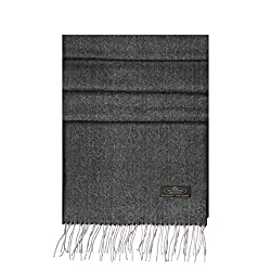 Messerio Plaid 100 Cashmere Scarf For Women And Men Super Soft Luxurious Winter Shawl With Gorgeous Gift Box ?�� 12 Styles Herringbone Grey