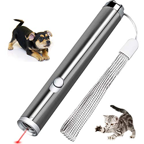 JJYPet Cat Laser Pointer,2 in 1 Red Laser Pointer,Interactive Cat Dog Training Tool,AA Battery Type