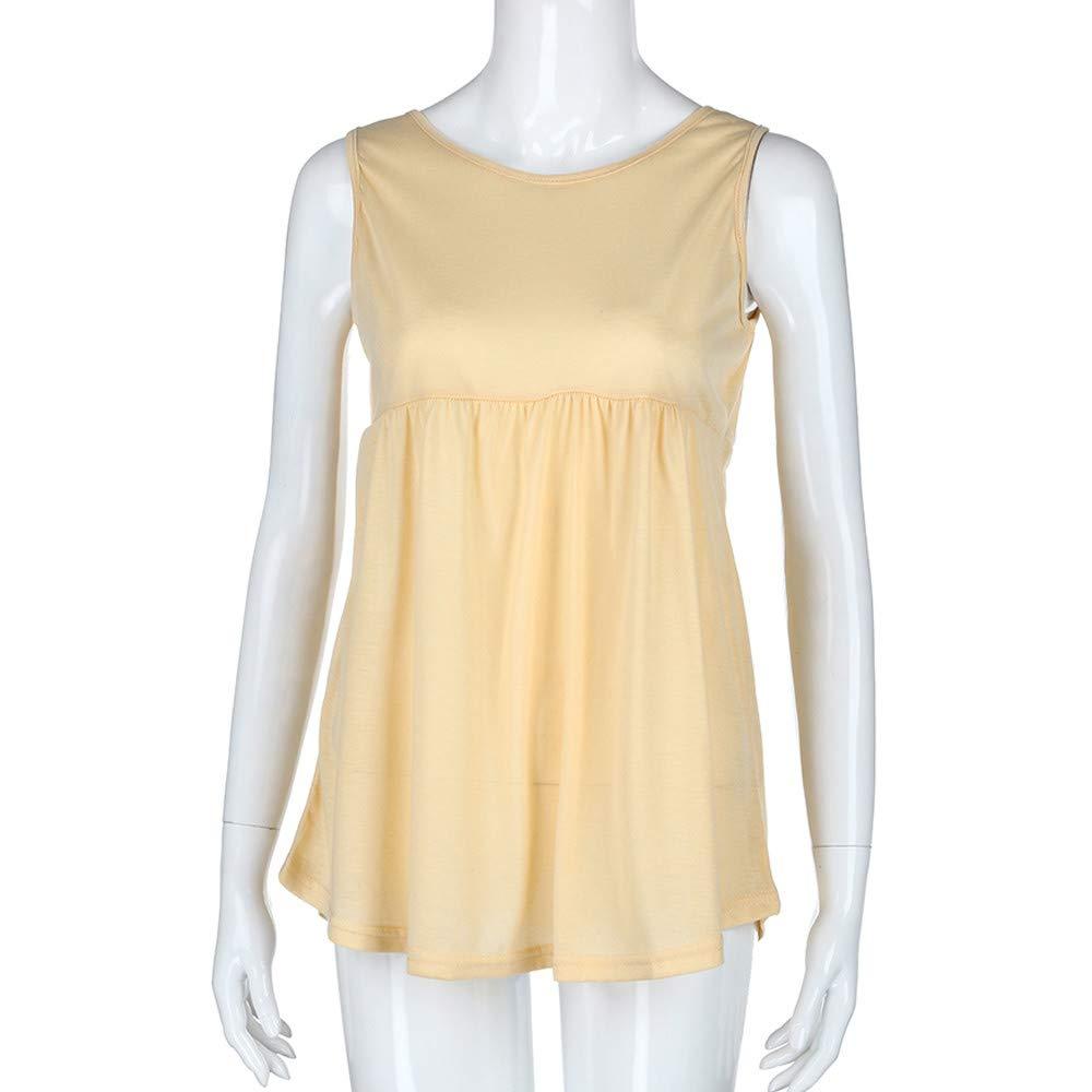 Women Fashion Plus Size Vest Summer Sleeveless Cami Scoop Neck Cotton Top Shirt Safety Blouse Khaki by iLUGU (Image #2)