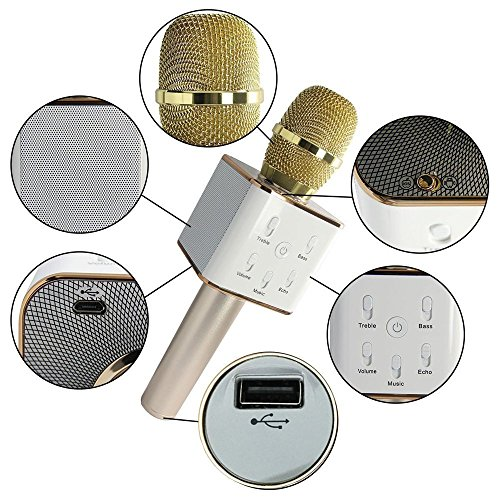 NEW 2018 Portable Q7 Karaoke Microphone - Wireless Bluetooth Speaker Mic - 3-in-1 Handheld KTV Player Machine for Dynamic Singing with Music - iPhone, iOS, Android, Tablet Compatible (Vault Gold)