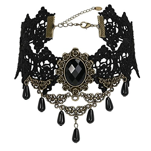 Daesar Womens Lace Flower Cameo Tassel Gothic Chain Punk Pendant Gold Black Choker Necklaces, 30+8.5CM
