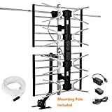 Cheap McDuory Digital HDTV Outdoor Amplified Antenna – 150 Miles Range – Mounting Pole & 40FT RG6 Coaxial Cable Included – Optimized Performance in UHF & VHF – Tools Free Installation