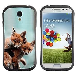 ZooCases Premium Shockproof Hybrid Case Samsung Galaxy S4 IV i9500 - Cute Baby Fox Friends -