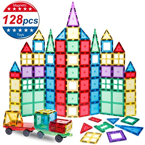 (NeoPuzzle Magnet Building Tiles 128 Pcs Magnetic Building Tiles ,3D Magnet Blocks Set with 2 Wheels, Magnetic Toys for Kids Children Toddlers)