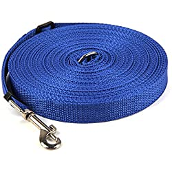 50FT Long Lead Nylon Dog Leash Adjustable Dog Lead for for Training Play Camping or Backyard Suitable for Medium Small Dogs or Cats (50FT, Blue)