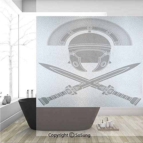 3D Decorative Privacy Window Films,Classic Roman Helmet and Swords Ancient Knight Symbolic War Illustration Decorative,No-Glue Self Static Cling Glass film for Home Bedroom Bathroom Kitchen Office 36x