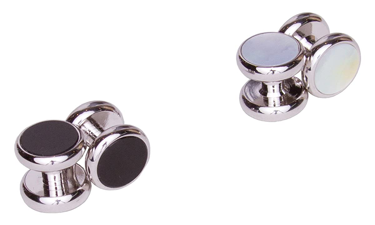 Sebastien Grey 4 Piece Double-Sided Black Onyx and Mother of Pearl Tuxedo Studs 1610NYSTU03