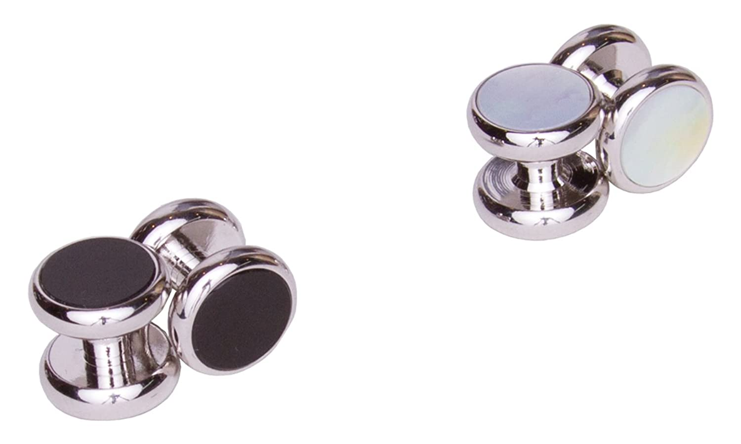 Sebastien Grey 4 Piece Double-Sided Black Onyx and Mother of Pearl Tuxedo Studs