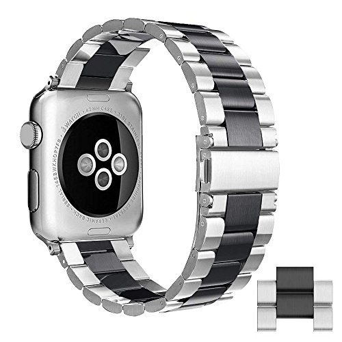 Silver With Black Stainless Steel Band - Simpeak Compatible for Apple Watch Band 42mm 44mm, Adjustment Stainless Steel Band for 42mm iWatch Series 4 3 2 1, with Tool and 2pcs Links, Black/Silver for Men