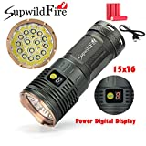 Perman Outdoor Flashlight Set, Supwildfire 50000LM 5 x XM-L T6 LED Power & Mode Digital Display Hunting Torch with 4 pcs 18650 Battery on Sale (Gold)