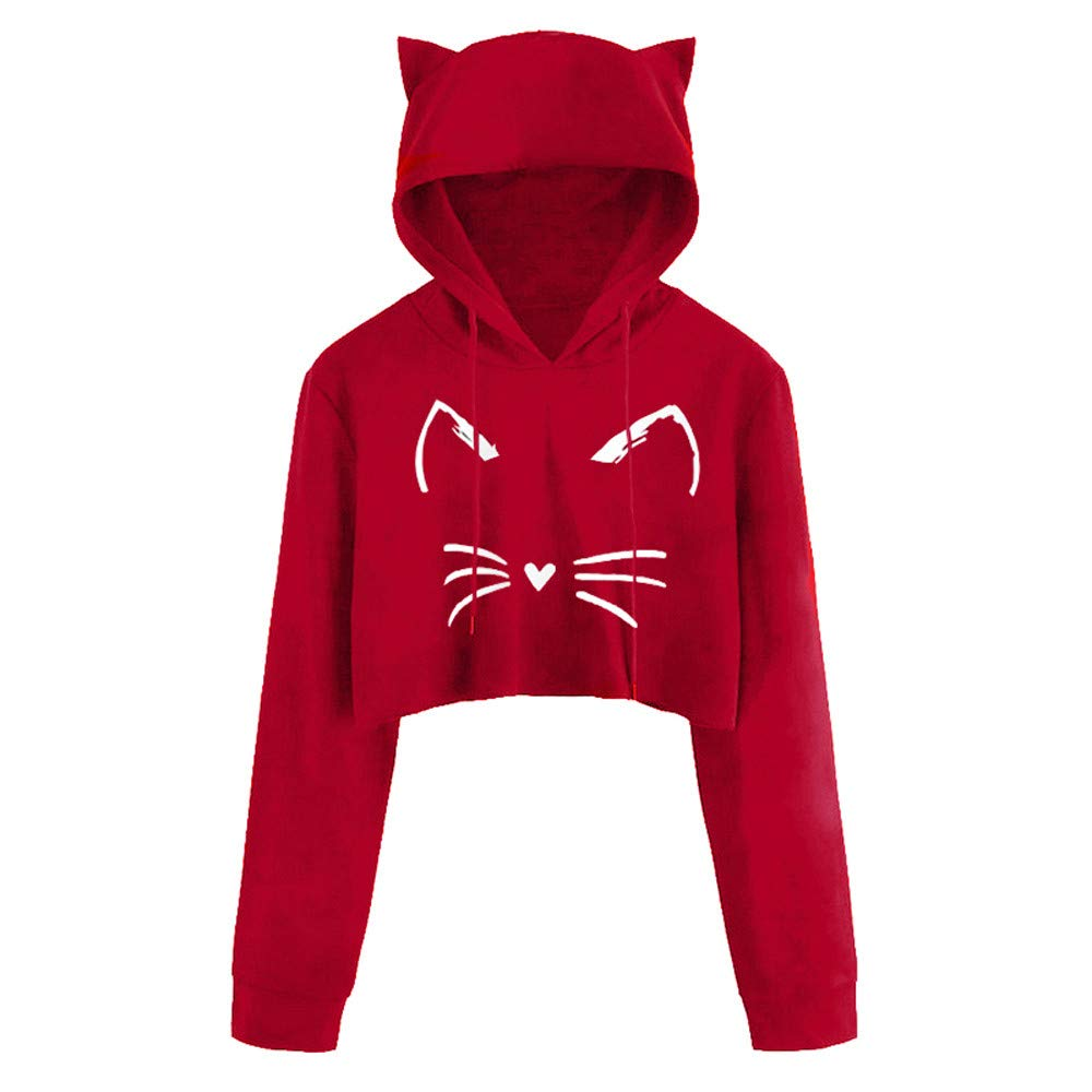 RedBrowm Women Sexy Casual Long Sleeve Cat Kitty Print Short Hoodie Pullover Top