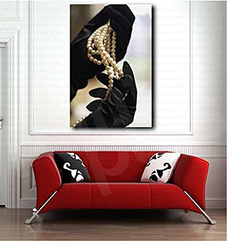 Amazon Com Black Gloves And White Pearls Necklace Art Canvas Poster Print Home Wall Decor Poster 35 X23 Posters Prints