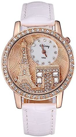 [Sponsored] Gogoey Girl's White Leather with Full Crystal Eiffel Tower Small Round Dial Quartz Wrist Watches