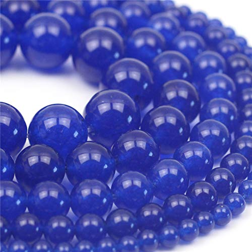"Oameusa Natural Round Smooth 8mm Blue Chalcedony Agate Beads Gemstone Loose Beads Agate Beads for Jewelry Making 15"" 1 Strand per Bag-Wholesale"