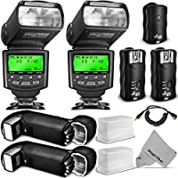 Altura Photo Studio Pro Flash Kit for CANON DSLR Bundle with 2pcs E-TTL Flash AP-C1001, Dual Wireless Flash Trigger Set and Accessories