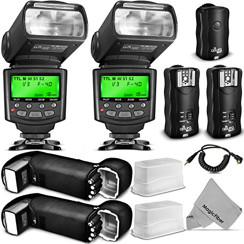 Altura Photo Studio Pro Flash Kit for CANON DSLR Bundle with 2pcs E-TTL Flash AP-C1001, Dual Wireless Flash Trigger Set and Accessories by Altura Photo