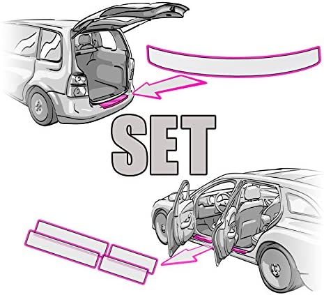 SEAT LEON 3 ST Ladekantenschutz + Einstiegsleisten SET + RAKEL + ANLEITUNG in TRANSPARENT Folie - passend für SEAT LEON 3 ST – Schutzfolie von CCW©