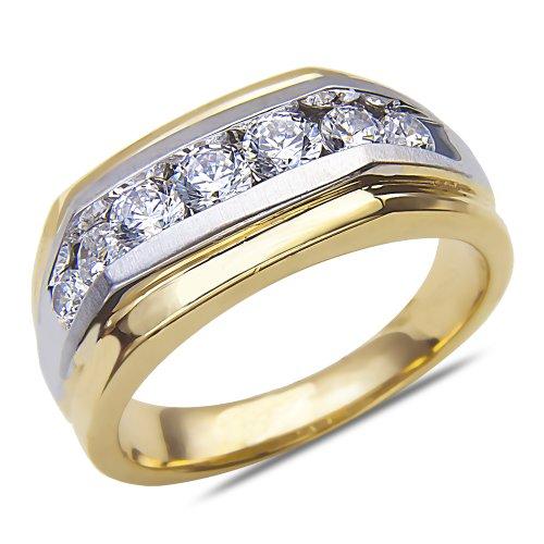Men's 1CT Diamond Two Tone Wedding Band in 14k Gold