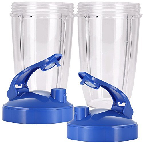 24 oz Tall Cup with Blue Flip Lid for Nutribullet,2 Pack