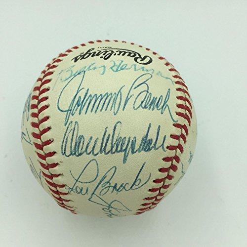 Johnny Bench Don Drysdale Duke Snider Lou Brock Hall Of Fame Signed Baseball JSA