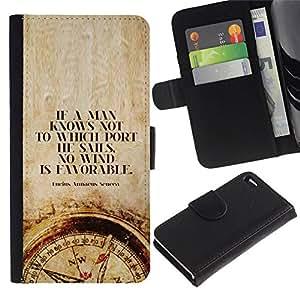 All Phone Most Case / Oferta Especial Cáscara Funda de cuero Monedero Cubierta de proteccion Caso / Wallet Case for Apple Iphone 4 / 4S // tiempo de cotización hombre inteligente brújula profunda