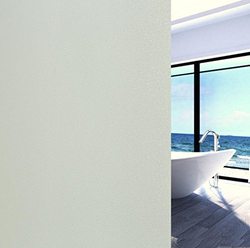 """Arthome 17.7"""" x 100"""" Matte White Decorative Window Films Privacy Glass Film Frosted No Glue Self Static Cling UV Blocking for Bathroom Living Room Bedroom Kitchen Office Home (45 x 254 cm, AH017W)"""
