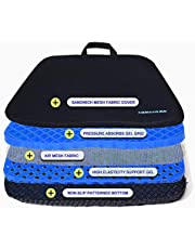 HANCHUAN Gel Cushion Extra Firm & Large Seat Cushion with Cooling Gel Honeycomb Egg Crate Design Sitter Fits Most Seat for Cars, Outdoors, Stadium, Truck, Van, Office (Thick, Blue)