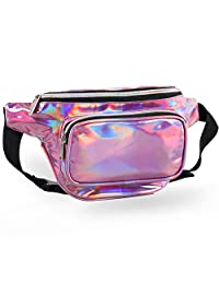 Holographic Fanny Packs for Women – Outdoor Sport Waist Pack for Running, Hiking, Traveling for Men (Pink)