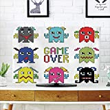 iPrint LCD TV dust Cover Strong Durability,90s,Pixel Robot Emoticons with Game Over Sign Inspired by 90s Computer Games Fun Artprint,Yellow Red,Picture Print Design Compatible 42'' TV