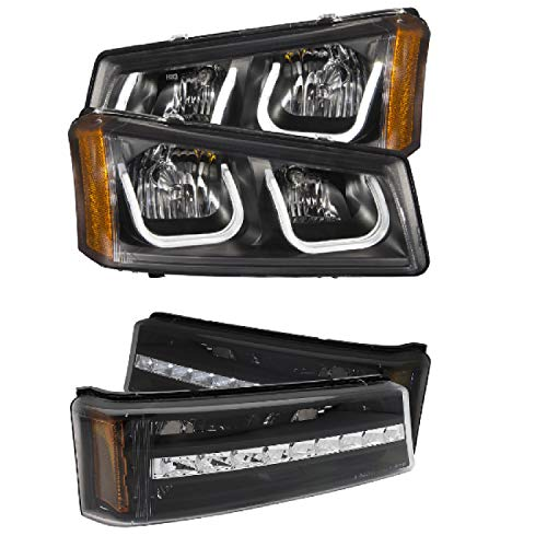 ANZO 111312 511067 Set of Crystal Headlights U-Bar & LED Parking Signal Lights for 03-06 Chevrolet Avalanche Silverado 1500 2500HD 3500