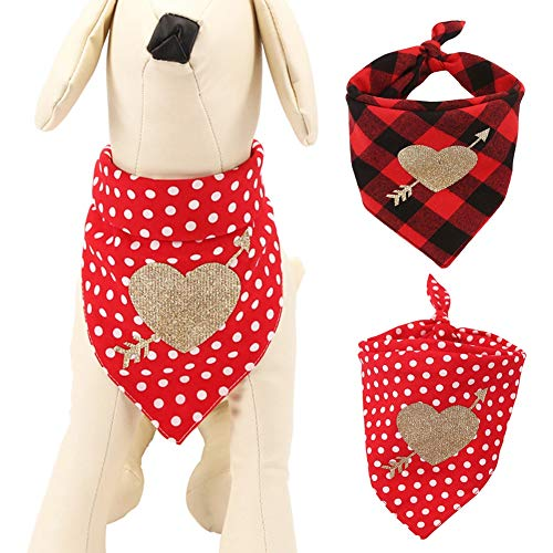 Etophigh Pet Cotton Bandana Scarf Dog Triangle Bibs for Valentine's Day,Black Red Plaid/Wave Points Lovely Colorful Love…