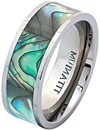 8mm Titanium Pipe Cut with Rainbow Rippled Abalone Inlay Wedding Band Ring