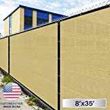 8' x 35' Privacy Fence Screen in Beige Tan with Brass Grommet 85% Blockage Windscreen Outdoor Mesh Fencing Cover Netting 150GSM Fabric - Custom Size