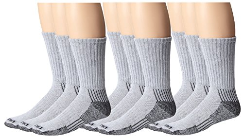 Dickies Men's Heavyweight Cushion Compression Work Crew Socks, Grey, 9 Pair, Size 6-12