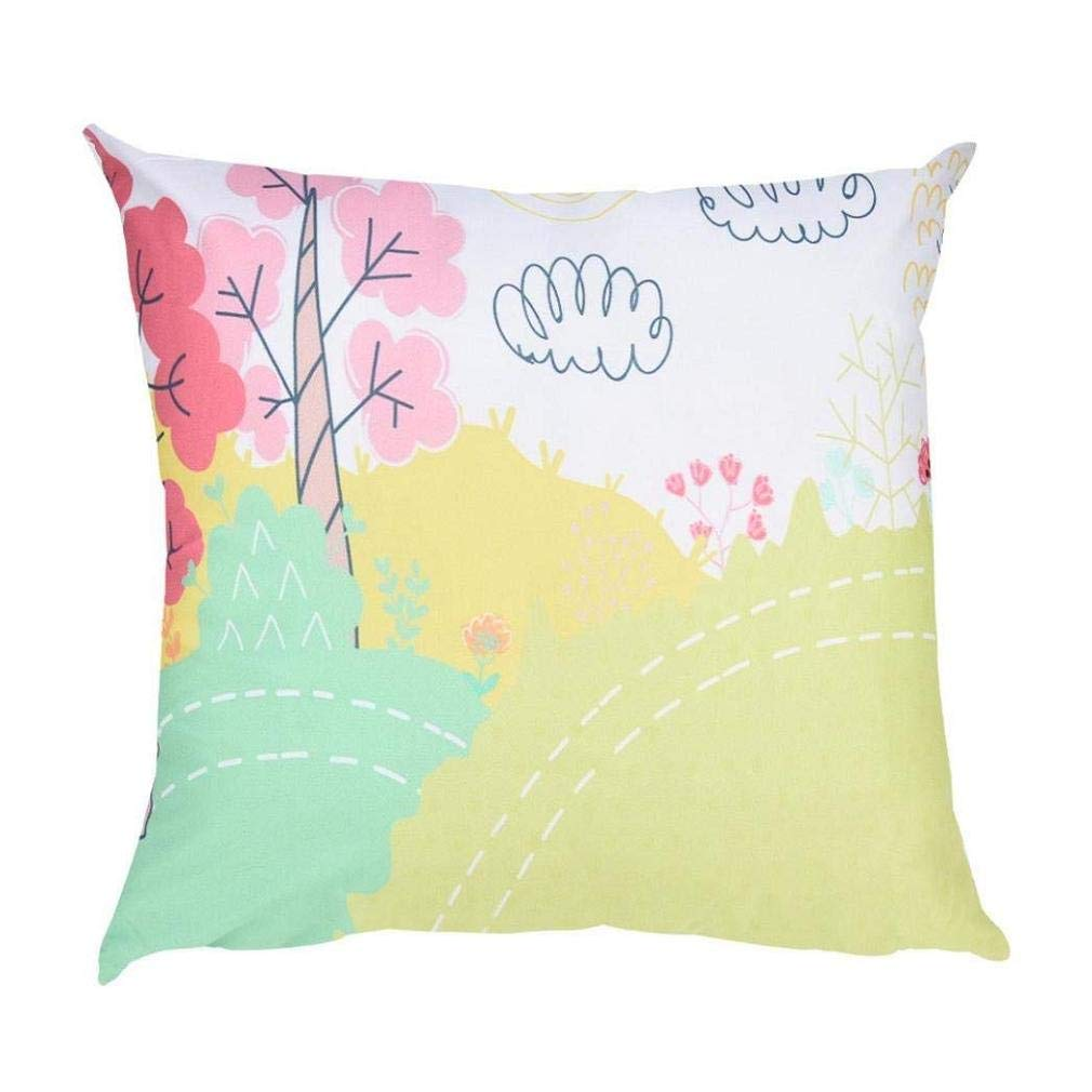Big Promotion! Noopvan Cute Painting Throw Pillowcase Polyester Sofa Decor Cushion Cover 17.7''x17.7'' (D)