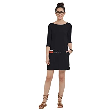 e4f49f417c4 The Souled Store GFG: Love Crossing The Line (Black) T-Shirt Dress Graphic  Printed Cotton Dress Women Girls: Amazon.in: Clothing & Accessories