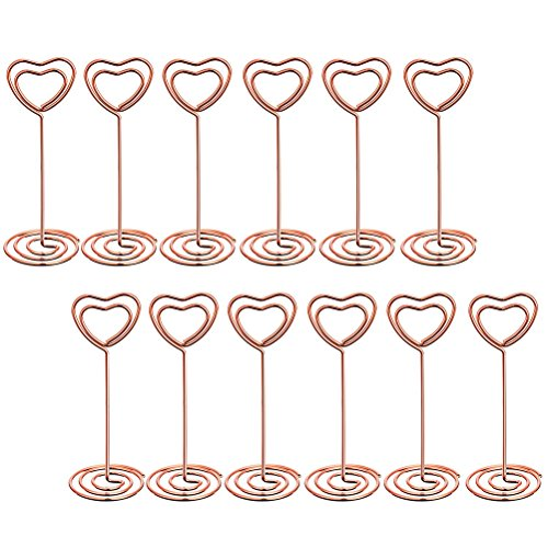 OUNONA 12 Pcs Photo Clips Metal Picture Holder Stands Table Number Holders Place Card Paper Menu for Weddings Party (Rose Gold Heart Shape)