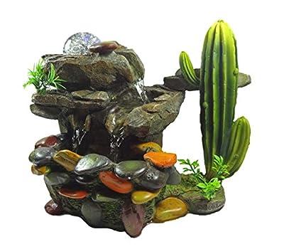 ImagiWonder Tabletop Fountain Rocky Waterfall Near Cactus Plants