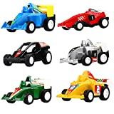 DeepLittleFish Pull Back Vehicles,6 Pack Race Car Toy,Pull Back and Go Car Toy Play Set