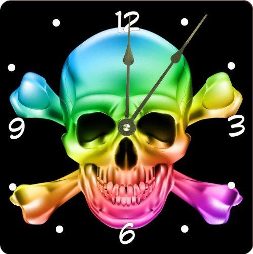 Rikki Knight Rainbow Glow Skull Design - rainbow wall art