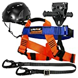Fusion Climb Tactical Edition Kids Commercial Zip Line Kit Harness/Lanyard/Trolley/Helmet Bundle FTK-K-HLTH-09