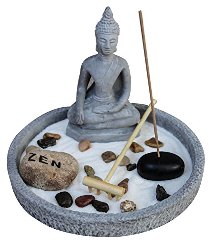 Zen Garden Deluxe Desk Meditation Garden Grey Meditating Buddha Statue, Rocks, Sand, Rake, Incense And Incense Holder.