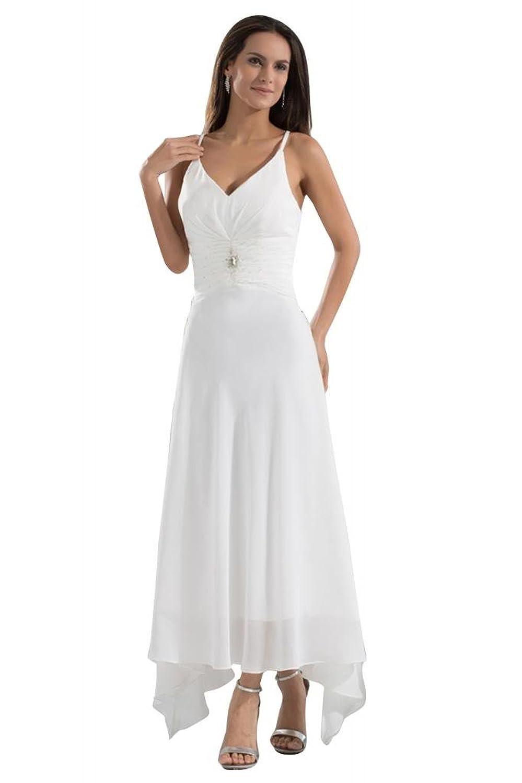GEORGE BRIDE Simple Sexy Strap Chiffon Beach Wedding Dress/Evening Dress